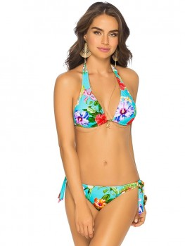 Bikini Halter Tropical Flowers