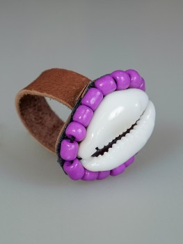 Cowrie Shell Ring Purple
