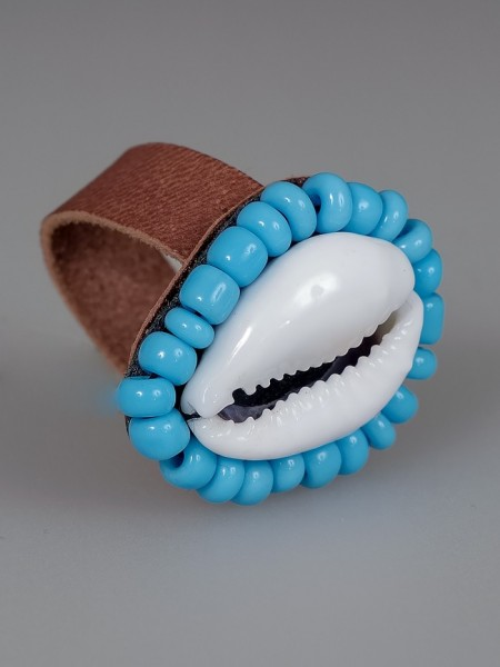 Cowrie Shell Ring Light Blue