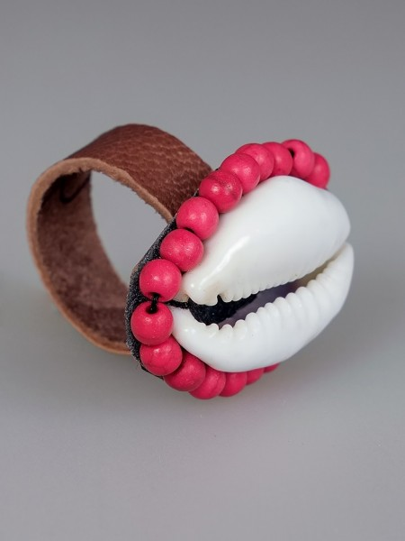 Cowrie Shell Ring Rose-Red