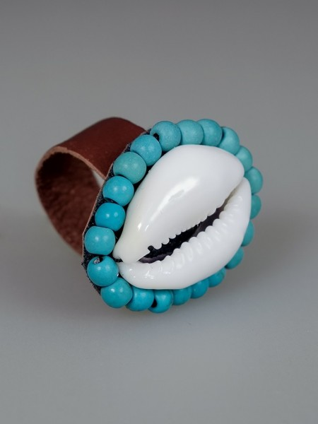 Cowrie Shell Ring Turquoise
