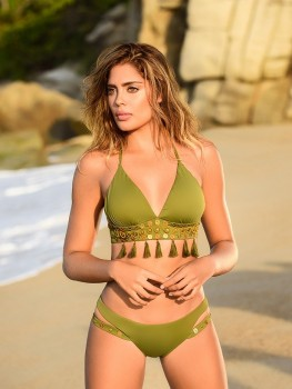 Triangle Bikini Moss-Green van Label Sale Chilla