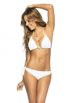 Thong bikini color-mix white