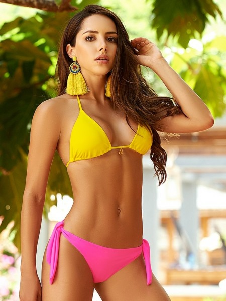 Bikini Triangle Color-Mix Yellow and Neon Pink