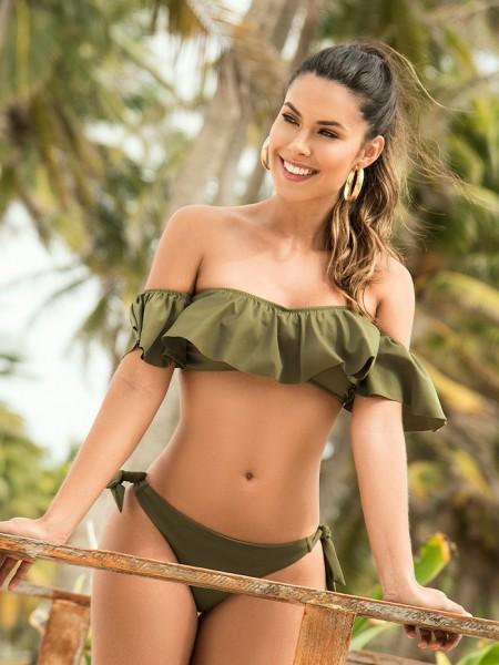 Off-shoulder Bikini Khaki Green