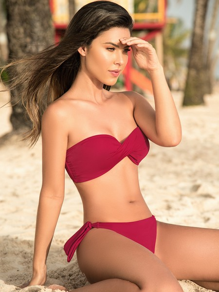 Bikini Twisted Bandeau Red Wine