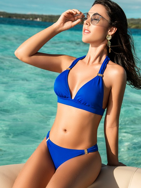Bikini Halter Color-Mix Royal Blue