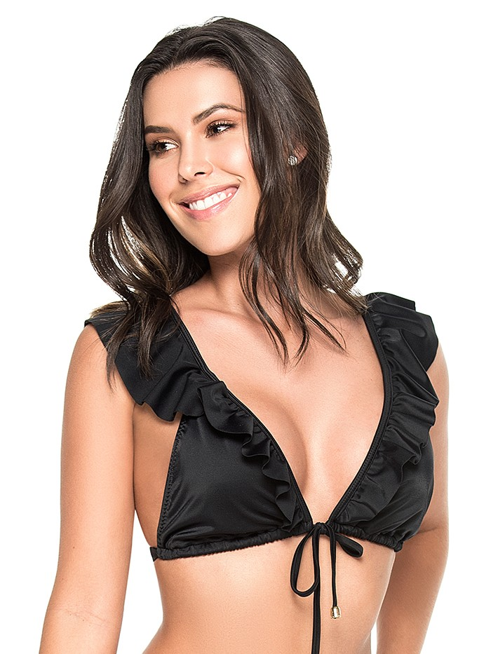 Tie-Front Triangle Top Black van Phax Chilla