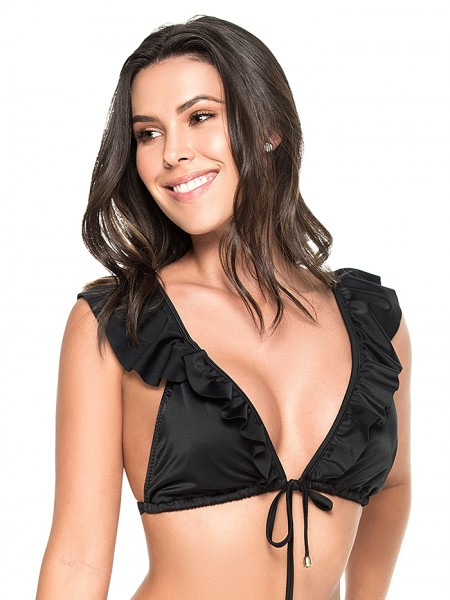 Tie-Front Triangle Top Black