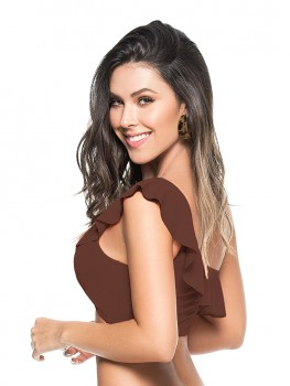 One Shoulder Top Brown