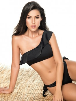 One Shoulder Bikini Color-Mix Zwart van Phax Chilla
