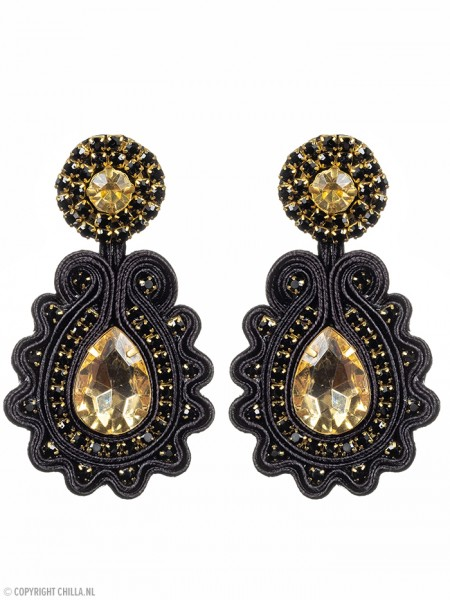 Black and Gold Statement Earrings