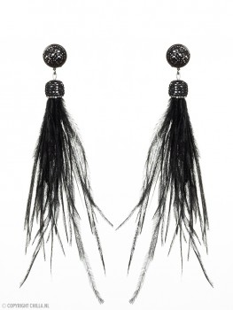 Black Feather Oorbellen