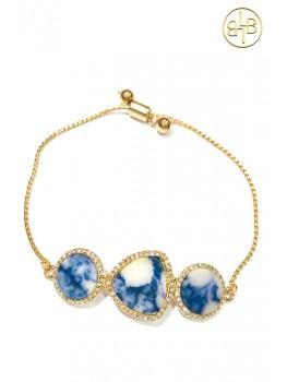 Armband Jade Blauw en Goud van Lindsey Brown Chilla