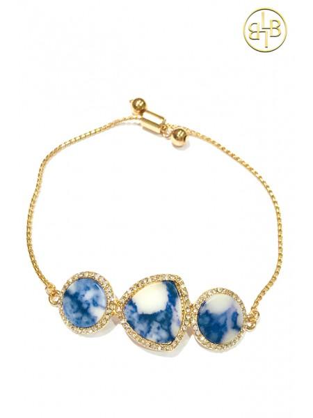 Bracelet Jade Blue and Gold