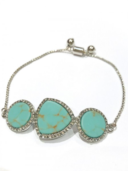 Bracelet Jade Turquoise and Silver