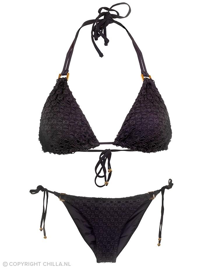 Sapphire Crochet Triangle Bikini Zwart van Yuly Swimwear Chilla
