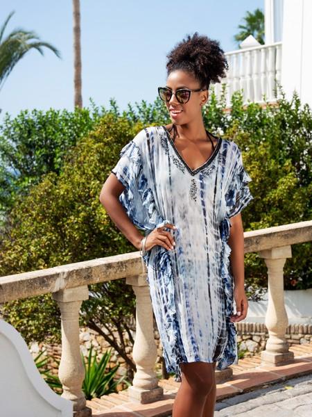 Silk Kaftan Dress Cabanna Indigo